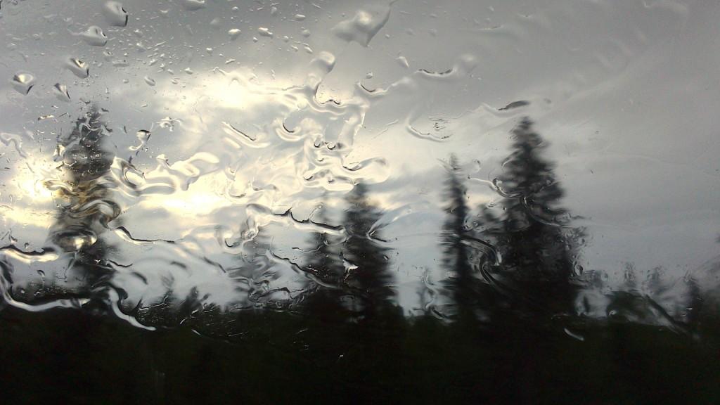 regn över bilens ruta, foto Nasti Roots